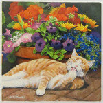 Single Cat Stone Coaster Sleeping Cat 02-685