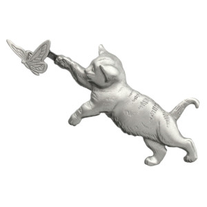 Cat Chasing Butterfly Pewter Pin 1185PP