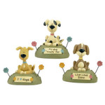 Three Lovable Dog Figurines Blossom Bucket 121-84056