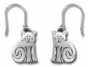 Cat Sitting Pewter Drop Earrings 2541EFP