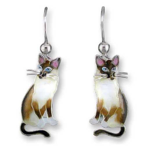 Snowshoe Siamese Cat Silver Drop Earrings 29 34 01