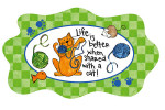 "Cat theme Glass Platter ""Life with Cat"" - 3FP44184"