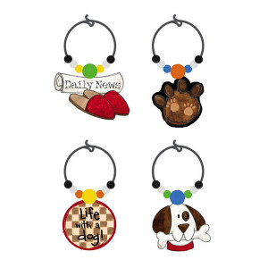 "Dog Theme Art-Glass Wine Glass Charms ""Life with Dog"" - 3WGC4183"