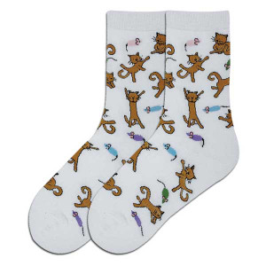 Dancing Cats Socks - White - 61564W