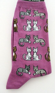 "Cat Socks ""Sitting Kitties"" - Pink - 61619P"