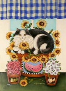 "Cat Garden Flag ""Cat in Flower Pot"" - 9817FM"