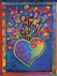 "Laurel Burch Card Birthday ""Blossoming Hearts"" - BDG13245"