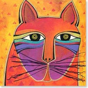 ting: Laurel Burch Card Birthday - Cat Square - BDQ23404