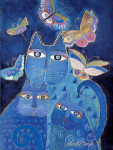 "Laurel Burch Card Warm Thoughts ""Blue Cats"" - ECG13255"