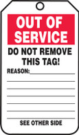 Out of Service Reason Tags - Cardstock (Per PK)