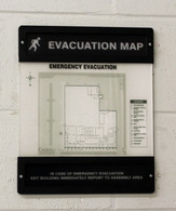 Glow-In-The-Dark Safety Sign: Evacuation Map (New Holder 2 - Unassembled)