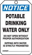 OSHA Notice Safety Tag: Potable Drinking Water Only (Per PK)