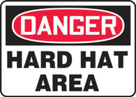 "Danger Hard Hat Area Sign 10""x14"""