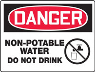 "Danger Non-Potable Water Do Not Drink Sign 10""x14"""