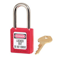 "Thermoplastic Safety Padlock, 1-1/2"" Shackle"