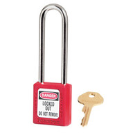 "Thermoplastic Safety Padlock,  3"" Shackle"