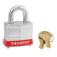 "Red Laminated Steel Safety Padlock 3/4"" Shackle"