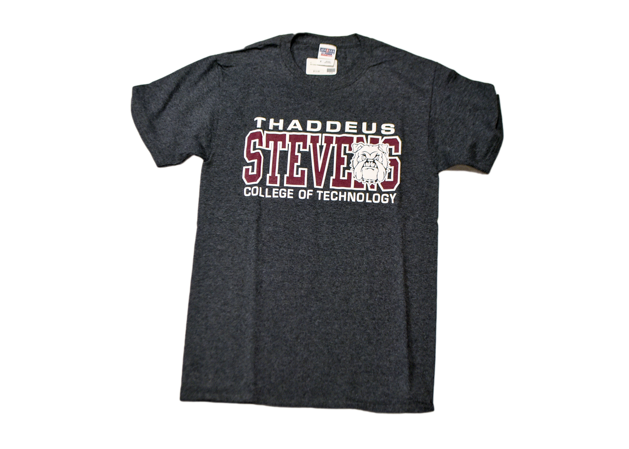 Grey T-shirt with burgundy and white logo - House of Champ College ...