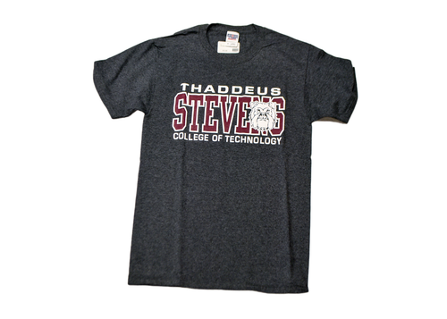 Grey T-shirt with burgundy and white logo