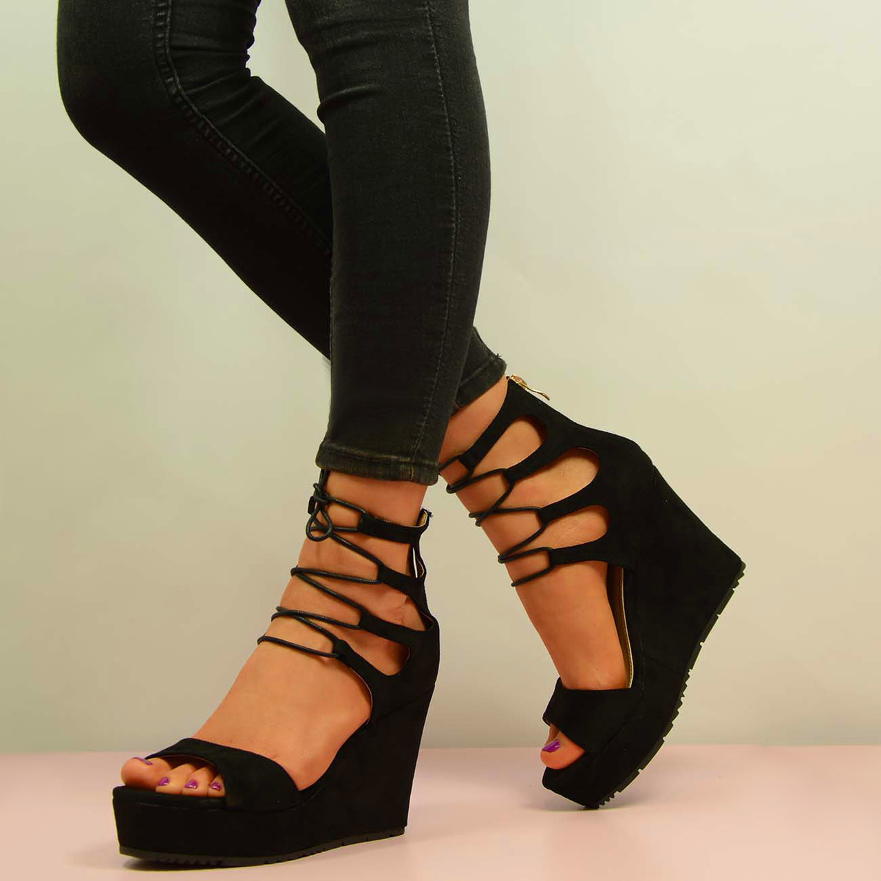 Wedge Heels With Laces