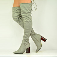WOMENS OVER THE KNEE BOOTS BUBBLE HEEL