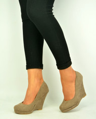 Khaki Womens Wedge Pumps