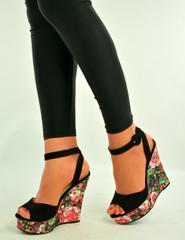 Black Floral Print Wedge Sandals Shoes