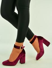 Burgundy Velvet Ankle Strap Pumps