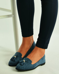 Navy Sparkle Ballet Loafers