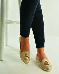 Gold Glitter Loafers