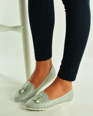 Silver Glitter Loafers