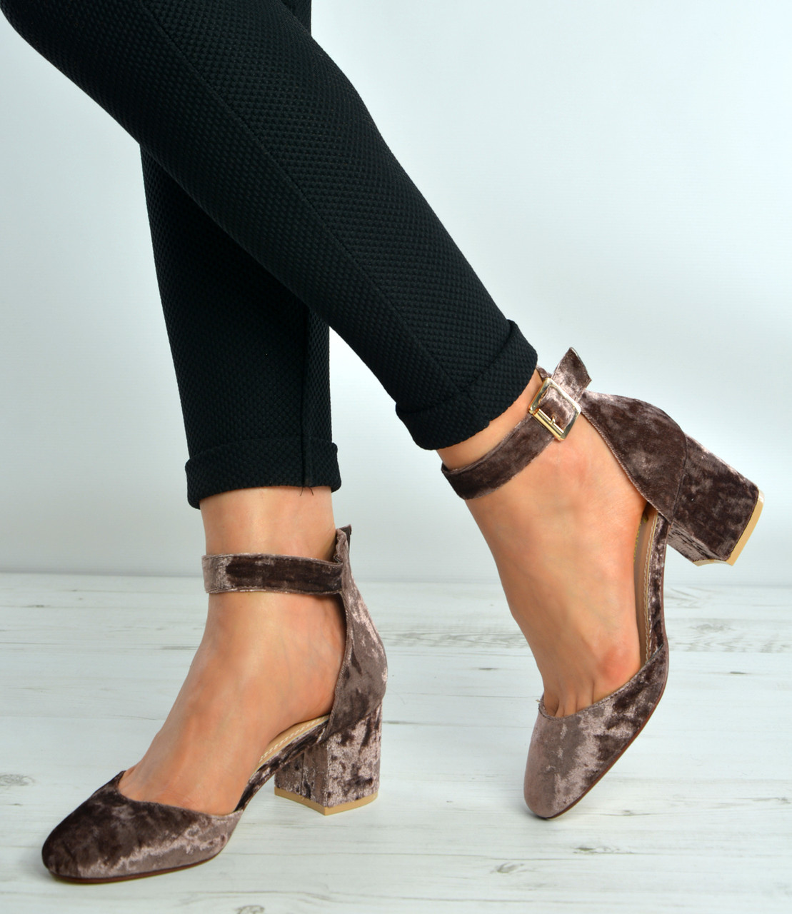 Coffee Brown Velvet Ankle Strap Mid Block Heel Pumps Shoes Size Uk 3-8
