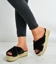 Black Faux Fur Slip On Flatforms Espadrille Sandals