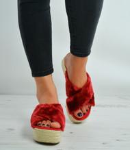 Wine Faux Fur Slip On Flatforms Espadrille Sandals