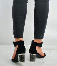Black Velvet Ankle Strap Block Stylish Heel Sandals