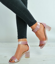 Pink Velvet Ankle Strap Block Stylish Heel Sandals