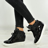 Aleah Black Glitter Sparkle Wedge Trainers