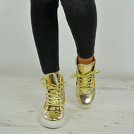 Aleah Gold Glitter Sparkle Wedge Trainers