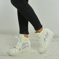 Aleah White Glitter Sparkle Wedge Trainers