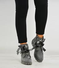 Arya Grey Studded Bow Ankle Boots
