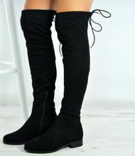 Kaleigh Black Suede Zip Over The Knee Boots