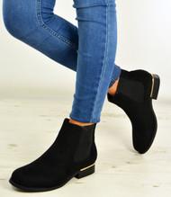 Sanaa Black Suede Slip On Ankle Boots