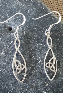 Simply Designed Sterling Silver Trinity Knot Earrings Front view.