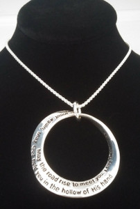 Irish Blessing Necklace Mobius Shape.