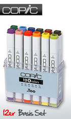 COPIC .TOO PRO MARKER - 12 PEN - BASIC COLOURS SET