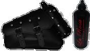 04-UP Harley-Davidson Sportster Left Side Saddle Bag Black claSICK with Spare Fuel Bottle Holder