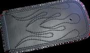 84-99 Harley-Davidson Softails Leather Dash Extension - Black - Black Stitched Flames