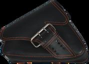 04-UP Harley-Davidson Sportster Left Side Saddle Bag LA FONDINA - Black (Orange Thread)