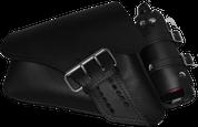04-UP Harley-Davidson Sportster Left Side Saddle Bag LA FONDINA - Black with Spare Fuel Bottle Holder