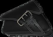 04-UP Harley-Davidson Sportster Left Side Saddle Bag LA FONDINA - Black (White Thread)